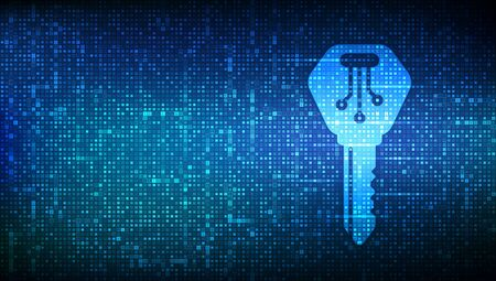 Digital key. Electronic key icon made with binary code. Cyber security and access background. Digital binary data and streaming digital code. Matrix background with digits 1.0. Vector Illustration