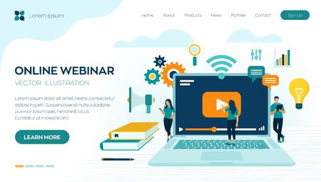 Webinar. Internet conference. Web based seminar. Distance Learning. E-learning concept with icons and characters. Video tutorials. Online courses. Workplace and working on laptop. Vector illustration