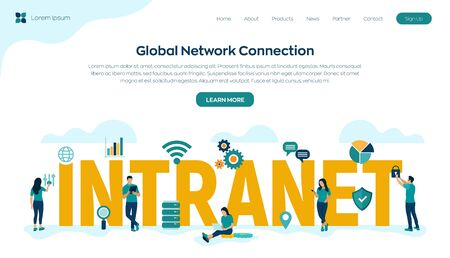 INTRANET. Global Network Connection Technology. Intranet Business Corporate communication document management system dms. Business team. Vector illustration with characters and icons