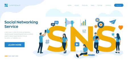 SNS. Social Networking Service - is an online platform which people use to build social networks or social relationship with other people. Flat vector Illustration with icons and characters