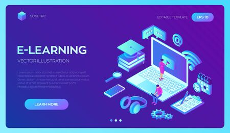 E-learning. Innovative online education and distance learning concept. Webinar, seminar, conference, teaching online training courses. Skill development. 3D isometric vector with icons and characters