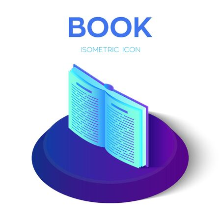 Book isometric icon. Open Book isolated on white background for learning or reading concept. Education infographic template design with e-book. Vector illustration Ilustração