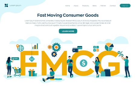 FMCG. Fast Moving Consumer Goods acronym. Quickly moving product, short term goods. Business and commerce concept with big word or text. Vector illustration with characters and icons