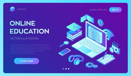 E-learning. Innovative online education and distance Learning 3D isometric concept. Webinar, teaching, online training courses. Internet conference Web seminar. Skill development. Vector illustration Ilustração
