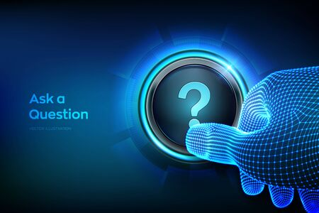 Ask a Question. Closeup finger about to press a button with a Question mark. Ask symbol. Help support, faq problem symbol, think education concept, confusion search. Vector illustration