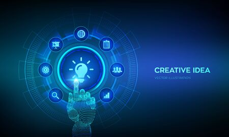 New idea. Creative Idea lamp icon. Creativity, innovation and inspiration modern technology and business concept on virtual screen. Robotic hand touching digital interface. Vector illustration Ilustração