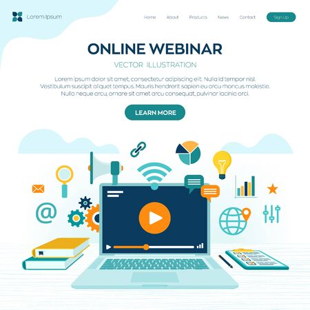 Webinar. Internet conference. Web based seminar. Distance Learning. E-learning Training business concept. Video tutorials. Online courses. Workplace and working on laptop. Vector illustration Ilustração