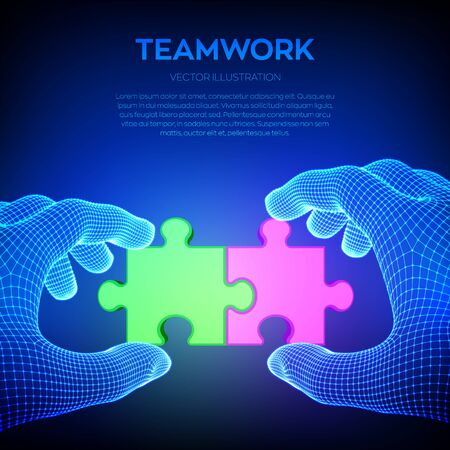 Connected red and green puzzle pieces in wireframe hands. Jigsaw parts as a symbol of association and connection. Business solutions, strategy and success. Teamwork concept. Vector Illustration