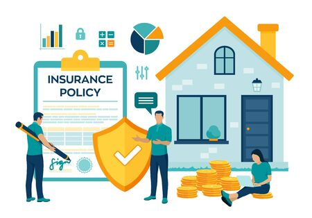 House Insurance concept. House insurance business services. Residential home real estate protection. Safety security shield. Colourful flat style vector illustration with characters and icons