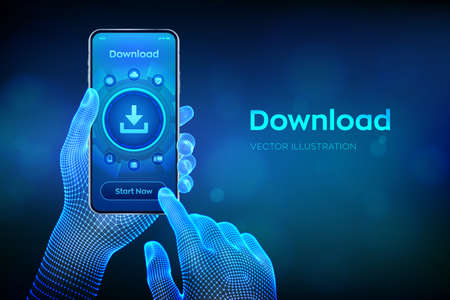 Download Data Storage. Cloud download. Install symbol. Business technology network internet concept. Closeup smartphone in wireframe hands. Vector illustration Vettoriali