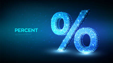 Percent sign. 3D Low polygonal abstract percent symbol. business concept of banking, calculation, discount. Low poly wireframe, geometry triangle, lines, dots, on blue background. Vector illustration