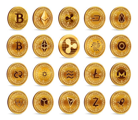 Cryptocurrency physical coins set. 3D Golden Crypto currency coins isolated on white background. Bitcoin. Ripple. Ethereum. Dash. Litecoin. EOS. Libra. Iota. Monero. Stellar Nem Vector illustration Ilustração
