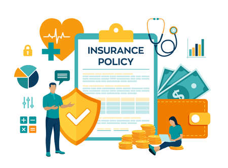 Health insurance concept. Healthcare, finance and medical service. Insurance policy. Protection health. Care medical. Colourful flat style vector illustration with characters and icons Ilustração