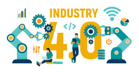 Smart Industry 4.0 concept. Industrial revolutions steps. Factory automation. Autonomous industrial technology. Colourful flat style vector illustration with characters and icons