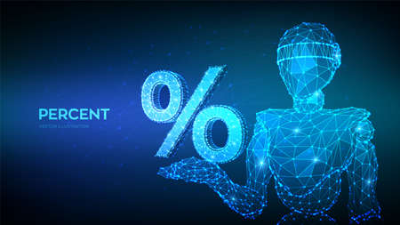 Percent sign. Abstract 3d robot holding percent symbol in hand. Business concept of banking, calculation, discount. Low polygonal geometry triangle lines dots on blue background. Vector illustration Ilustração