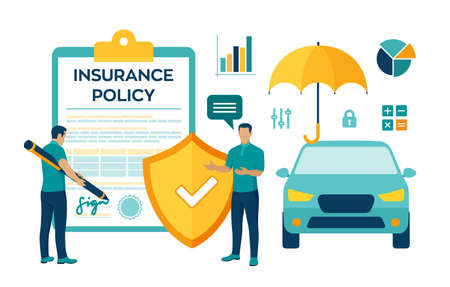 Car Insurance Concept. Car protection and safety assurance. Vehicle collision insurance. Safety from disaster. Colourful flat style vector illustration with characters and icons