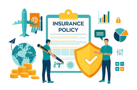 Travel Insurance service concept. Aircraft and tickets. Flight insurance. Safety security shield. Signing policy form. Colourful flat style vector illustration with characters and icons
