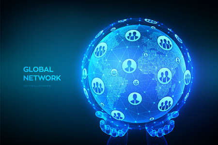 Global network connection. World map point and line composition. Earth globe in wireframe hands. Concept of global business. Blue futuristic internet connection background. Vector Illustration Ilustração
