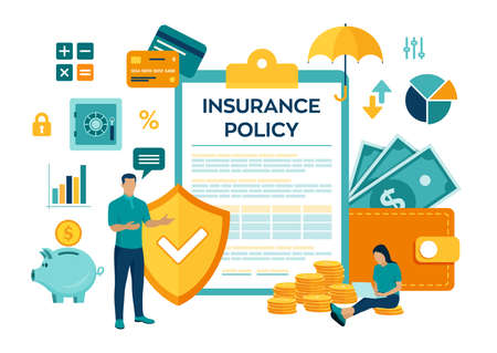 Business insurance. Concept of money protection, financial saving insurance, safe business economy. Colourful flat style vector illustration with characters and icons