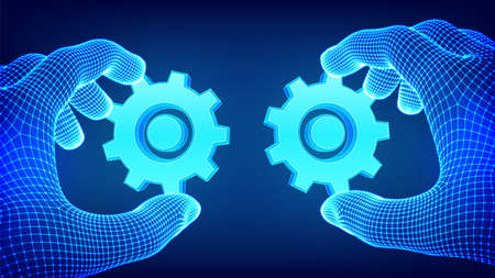 Two hands connect the gears. Symbol of association and connection. Building a business system. Teamwork, cooperation concept. Business idea, solutions, strategy. Vector Illustration
