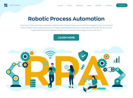 RPA Robotic process automation innovation technology concept. Intelligent system automation. AI. Artificial intelligence. Colourful flat style vector illustration with characters and icons