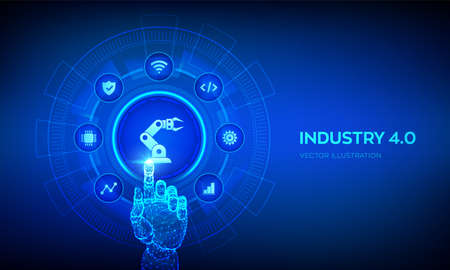 Smart Industry 4.0 concept. Factory automation. Autonomous industrial technology. Industrial revolutions steps. Robotic hand touching digital interface. Vector illustration Vettoriali