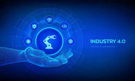 Smart Industry 4.0 symbol in robotic hand. Factory automation. Autonomous industrial technology concept. Industrial revolutions steps. Vector illustration