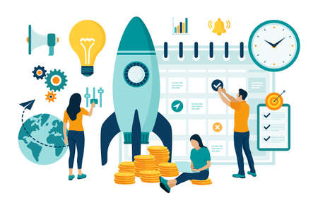 Startup business project launch. Idea through planning and strategy, time management, realization. Teamwork in the startup. Start up concept with spaceship. Flat vector illustration with characters