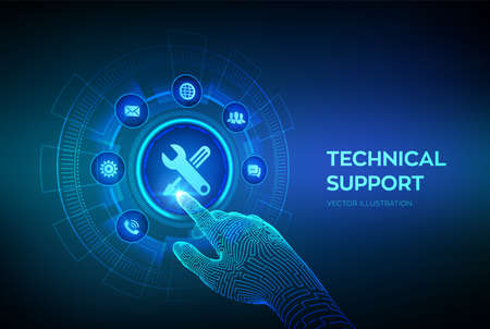 Technical support. Customer help. Tech support. Customer service, Business and technology concept. Robotic hand touching digital interface. Vector illustration