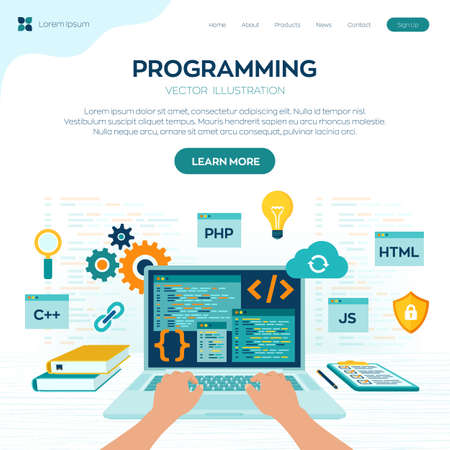 Programming banner, coding, best programming languages. Development and software concept. Computer code with windows on laptop screen. Workplace and working on laptop. Flat vector illustration Иллюстрация