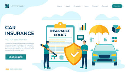 Car Insurance Concept. Car protection and safety assurance. Vehicle collision insurance. Safety from disaster. Colorful flat style vector illustration with characters and icons