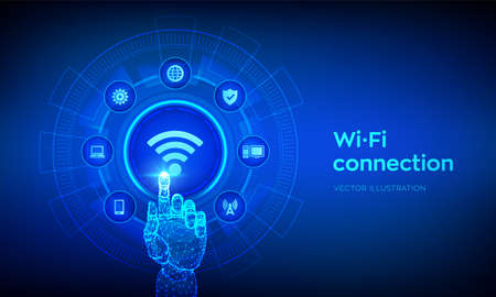 Wi Fi wireless connection concept. Free WiFi network signal technology internet concept. Mobile connection zone. Data transfer. Robotic hand touching digital interface. Vector illustration