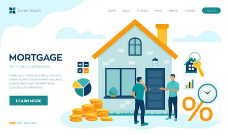 Mortgage concept. House loan or money investment to real estate. Property money investment contract. Buying Home. Real estate agent presenting house to client. Vector illustration with characters Stock Illustratie