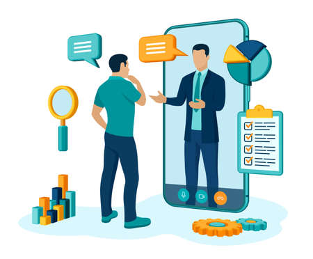 Coaching and mentoring concept. Video call to coach through the application on the smartphone. Online business advise or consultation service. Webinar, online training courses. Vector illustration