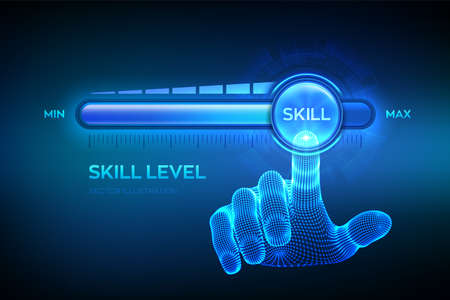 Skill levels growth. Increasing Skills Level. Wireframe hand is pulling up to the maximum position progress bar with the word Skill. Concept of professional or educational knowledge. Vector Illustratie