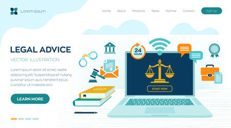Online Legal advice concept. Labor law, Lawyer, Attorney at law. Lawyer website on laptop screen. Professional law attorney consultation online, legal assistance in business. Vector illustration