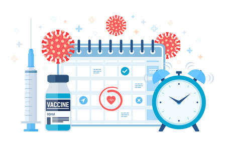Time to vaccinate concept. Immunization campaign. Vaccine shot. Syringe with a vaccine bottle calendar and virus. Health care and protection. Medical treatment. Flat vector illustration