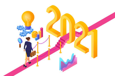 Welcome 2021. New Year. Path to New Year. Businesswoman with briefcase in hand walking on red carpet to the 2021 New Year. Creative Idea. Vector Illustration