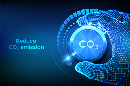 Carbon dioxide emissions control concept. Reduce CO2 level. Wireframe hand turning a carbon dioxide knob button to the minimum position. CO2 reduction or removal concept. Vector illustration