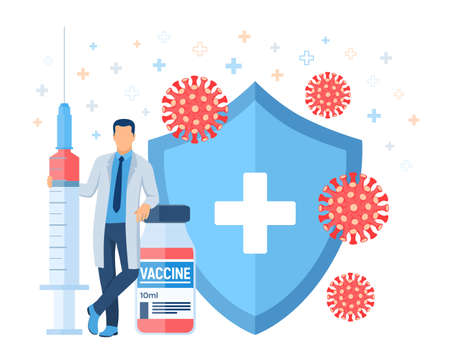 Vaccination concept. Immunization campaign. Vaccine shot. Health care and protection. Doctor and syringe with a vaccine bottle protection shield and virus.