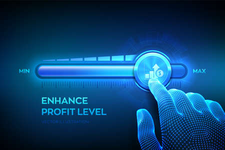 Increasing Profit Level. Wireframe hand is pulling up to the maximum position progress bar with the profit icon. Finance concept of profitability or return on investment. Vector illustration Vetores