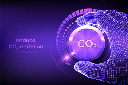 Carbon dioxide emissions control concept. Reduce CO2 level. Wireframe hand turning a carbon dioxide knob button to the minimum position. CO2 reduction or removal concept. Vector illustration Vector Illustration
