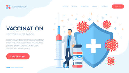 Vaccination concept. Immunization campaign. Vaccine shot. Health care and protection. Doctor and syringe with a vaccine bottle protection shield and virus. Medical treatment. Flat vector illustration