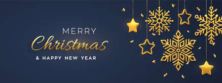 Christmas blue background with hanging shining golden snowflakes and 3D metallic stars. Merry christmas greeting card. Holiday Xmas and New Year poster, web banner. Vector Illustration Иллюстрация