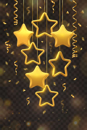 Shimmering hanging golden stars with confetti isolated on transparent background. Glowing Christmas greeting card. New Year poster, cover or banner template. Holiday decoration 3D Vector illustration