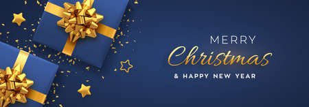 Christmas banner. Realistic blue gift boxes with golden bow, gold stars and glitter confetti. Xmas background, horizontal christmas poster, greeting cards, headers website. Vector illustration