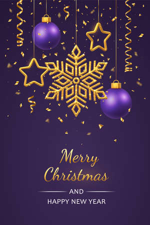 Christmas purlpe background with hanging shining golden snowflakes, 3D metallic stars and balls. Merry christmas greeting card. Holiday Xmas and New Year poster, web banner. Vector Illustration