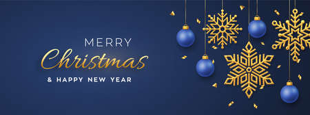 Christmas blue background with hanging shining golden snowflakes and balls. Merry christmas greeting card. Holiday Xmas and New Year poster, web banner. Vector Illustration