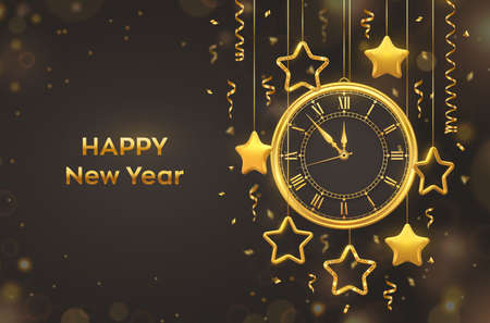 Happy New Year 2021. Golden shiny watch with Roman numeral and countdown midnight, eve for New Year. Background with shining golden stars. Merry Christmas. Xmas holiday. Vector illustration