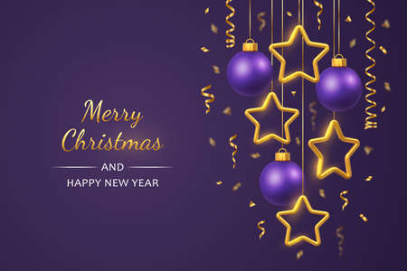 Shimmering hanging golden stars and balls with confetti on purple background. Glowing Christmas greeting card with copyspace. New Year poster, cover or banner template. Holiday decoration. Vector